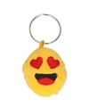 Pluche smiley in love sleutelhanger