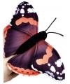 Pluche zwarte vlinder vingerpop 22 cm