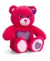 Rode zittende beer met paarse hart 25cm