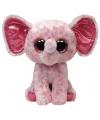 Roze ty beanie knuffel olifant 24 cm