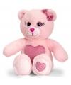 Roze zittende beer met donker roze hart 25cm
