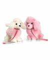 Staande roze witte poedel knuffel 30cm