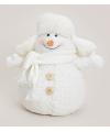 Witte sneeuwpop met bontmuts