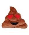 Emoticon kussen drol met hartjes ogen 26 x 33 cm