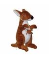 Knuffel kangoeroe met baby 28 cm