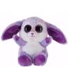 Pluche haas konijn knuffeltje paars 15 cm