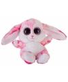 Pluche haas konijn knuffeltje roze 15 cm