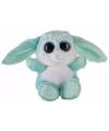 Pluche haas konijn knuffeltje turquoise 15 cm