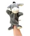 Pluche handpop ezel 21 cm