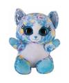 Pluche kat poes knuffeltje blauw 20 cm