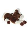 Pluche knuffel paard bruin wit 60 cm