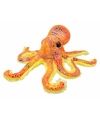 Pluche octopus knuffel oranje glitter 25 cm