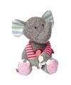 Pluche patchwork grijs roze olifant knuffel 31 cm