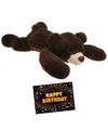 Verjaardag knuffel beer bruin 120 cm gratis verjaardagskaart