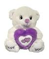 Wit paarse beer met hart knuffel love you 31 cm