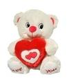 Wit rode beer met hart knuffel love you 31 cm